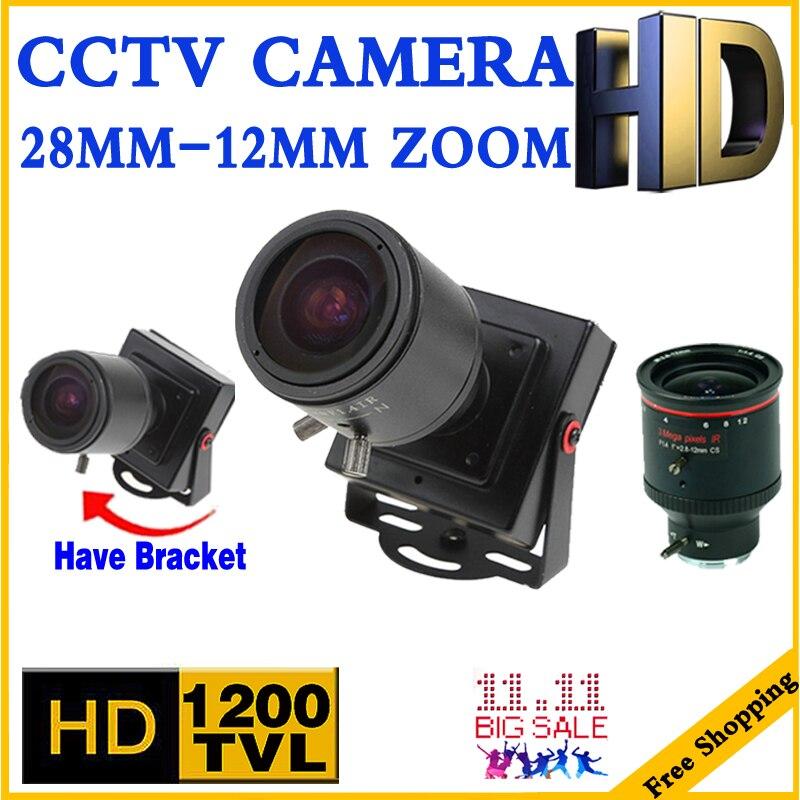 3.28 Mini Zoom Caméra 2.8mm-12mm 1200TVL HD Zoom mise au point Manuelle Djustable Lentille Métal sécurité surveillance vidicon micro vidéo