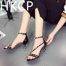 HKCP Fashion 2019 summer womens shoe belt nude stiletto stilettos cross strap sandals for women C006