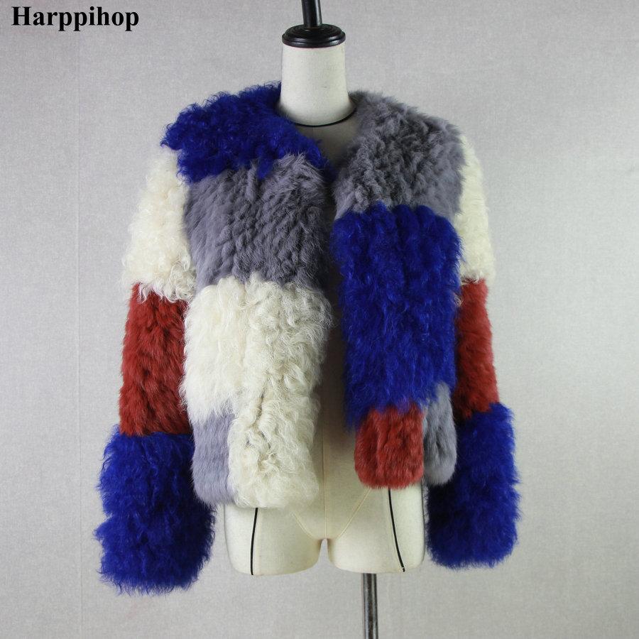 HARPPIHOP*Design Rabbit Fur Mongolia Sheep Fur Lamb Fur Combined Knitted Winter Jacket Fur Coat Outerwear Short Style