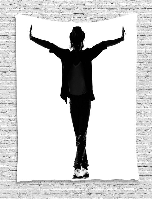 Michael Jackson Decor TapestryYoung Man With Hat Silhouette Gesture Greeting Star Singer Fame Wall Hanging