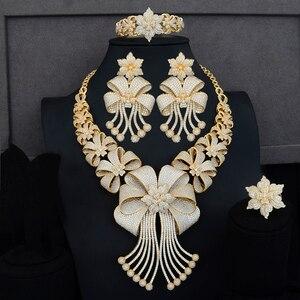 Image 3 - Siscathy Luxe Statement Sieraden Set CZ Grote Bloem Kraag Ketting Dangle Oorbellen Bangle Ring voor Vrouwen Bruiloft Sieraden Sets