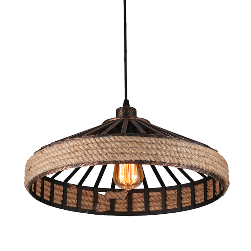 Kung Vintage loft Industrial LED Pendant light E27 lamp holder Dia.45cm Rope Pendant Light Living Room Lamp Cafe/Bar 6W led lamp loft style vintage pendant lamp iron industrial retro pendant lamps restaurant bar counter hanging chandeliers cafe room
