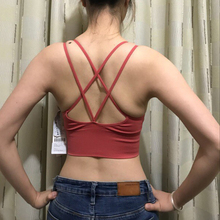 Sexy Women Active Wear Criss Cross Bra Sporty Crop Top Fitness Push Up Brassiere Sport Woman Fitness Athletic Racerback Brassier