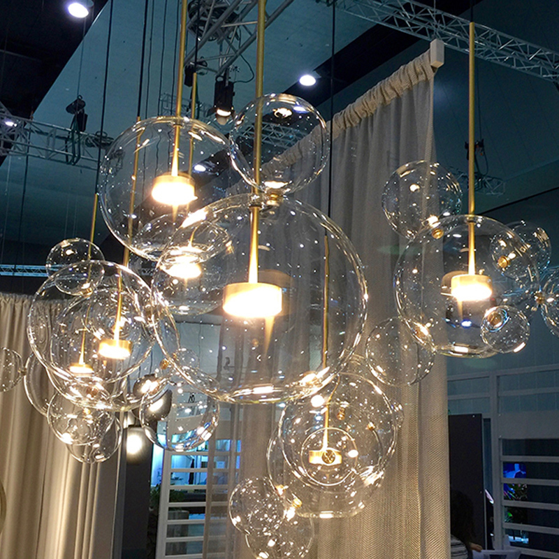 Us 91 28 42 Off Post Modern Led Clear Glass Bubble Ball Led Pendant Fixtures Indoor Lighting Lustre Luminaria Hanging Lamp In Pendant Lights From