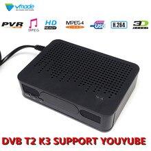 Vmade T2 K3 Conversor de Radiodifusão Digital terrestre Receptor de TV DVB FTA CAIXA Kits Suporta MPEG4 H.264 Full HD 1080P set top box