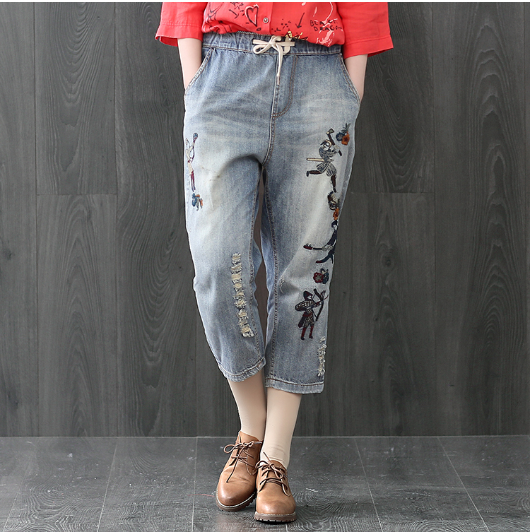 High Quality 2017 Vintage Ripped Jeans Women Elastic Waist Denim Pants Casual Loose Trousers Floral Embroidered Jeans Y326 new summer vintage women ripped hole jeans high waist floral embroidery loose fashion ankle length women denim jeans harem pants