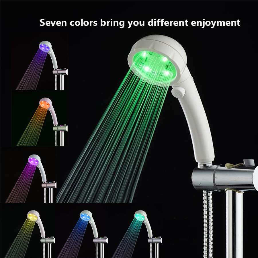 Handheld Shower Head LED High Pressure ON/OFF Pause Stop Switch Water Saving Led Light Douchekop Bathroom Accessories