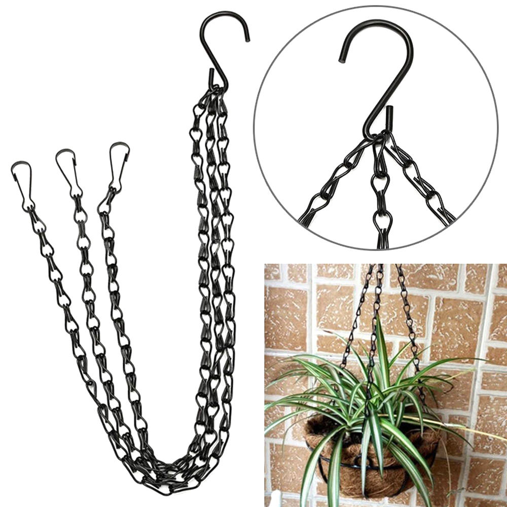 Hanging Flower Pot Basket Iron Chain Flower Pot Holder Garden Balcony Hanging Basket Chain Rope Macrame Plants Hanger Hook