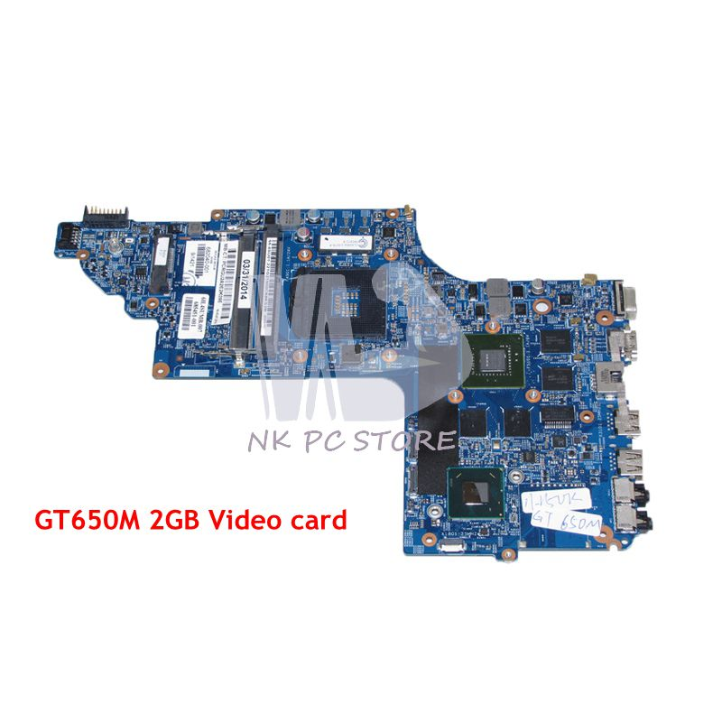 NOKOTION 682040-501 682040-001 For HP pavilion DV7 DV7T DV7-7000 Laptop Motherboard 17 Inch HM77 DDR3 GT650M 2GB Video Card 200
