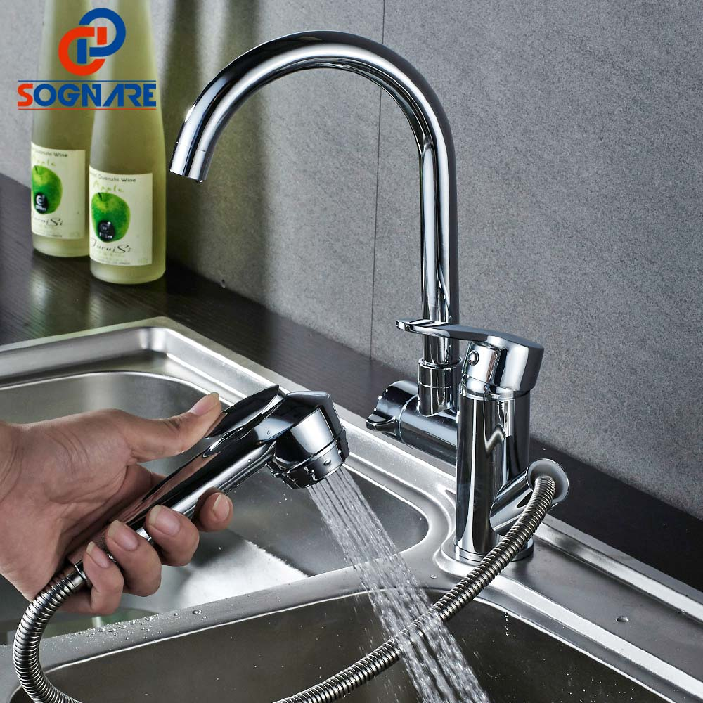 SOGNARE Kitchen Sink Faucet Swivel 360 Degree Pull Out Kitchen Mixer Chrome Brass Mixer Tap Single Handle Two Spouts,Cold Hot classic pull out kitchen mixer tap of single handle single hole kitchen faucet with hot cold solid brass kitchen sink water tap