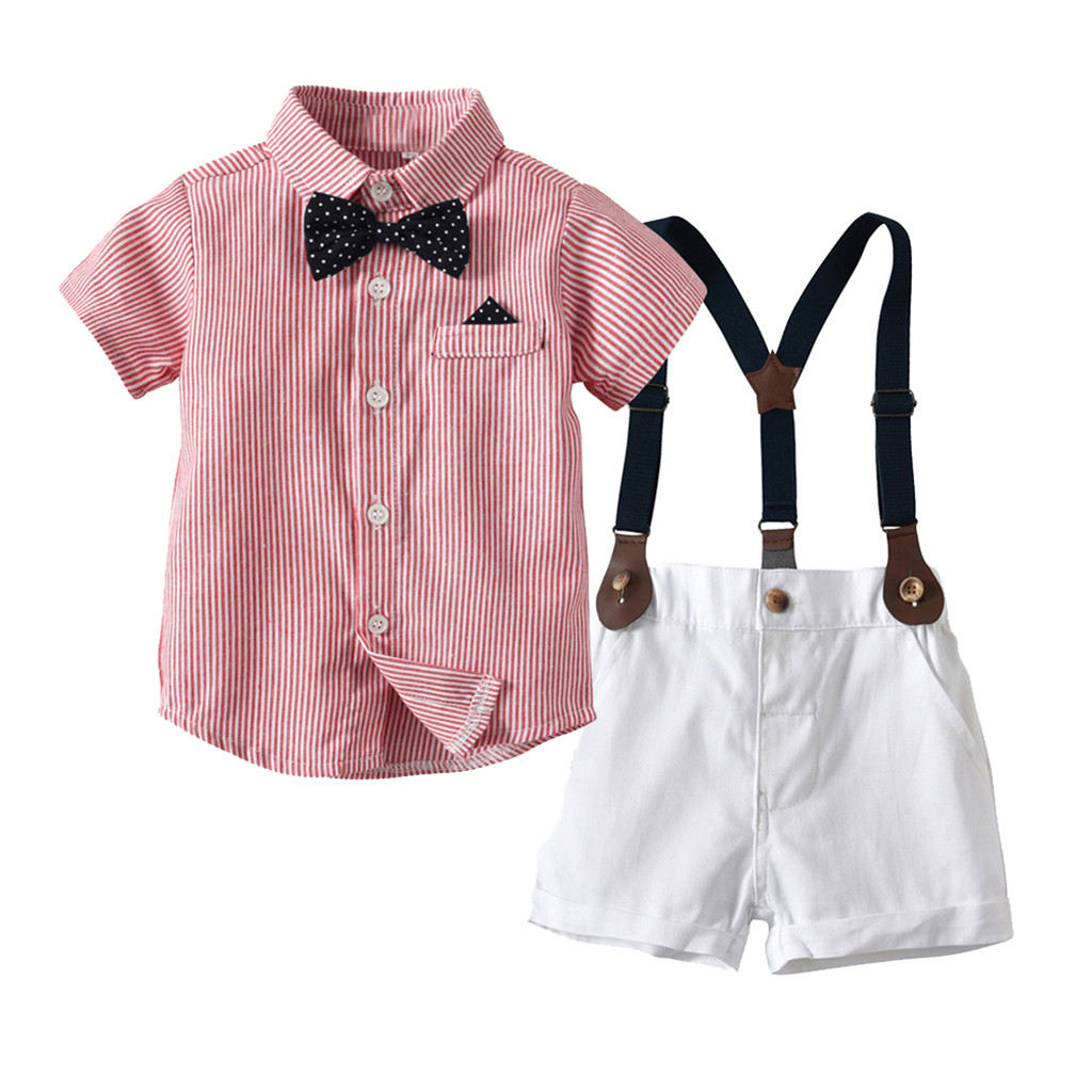 Infant Baby Boys Gentleman Bow Tie T-Shirt Tops+Shorts Overalls Outfits Clothes kids summer clothes quality ensemble garcon(China)