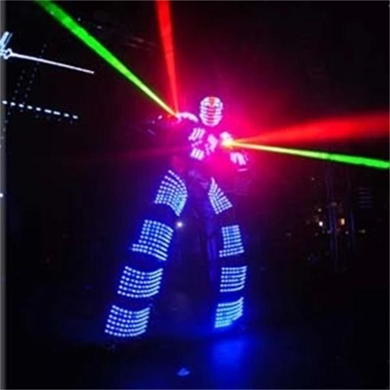 Led svítící chůda robot oblek s LED přilbou Osvětlené LED oblečení rostoucí světlo Kryoman robot Ballroom party kostým