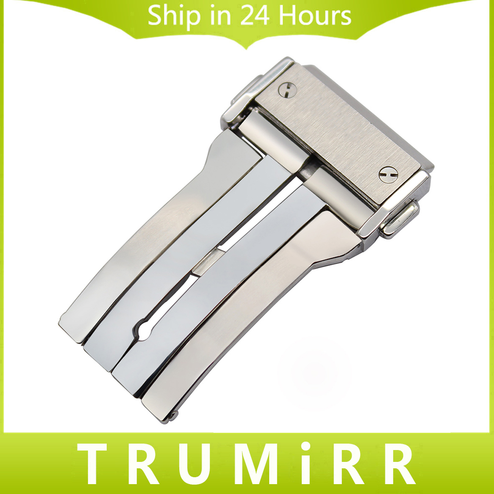 цены на Stainless Steel Watch Buckle 18mm 20mm 22mm 24mm for HUB Watchband Brushed Finish Butterfly Deployment Clasp Push Button Silver в интернет-магазинах