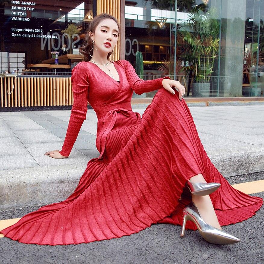 Hiver femme robe 2019 chaud sexy slim robe de soirée à manches longues col en v robe en tricot grande balançoire plissée ceinture longue robe femmes