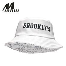 Minhui 2016 New Fashion BROOKLIN Bucket Hat White Panama Fishing Cap Men and Women Bob Bape Fisherman Hats Caps