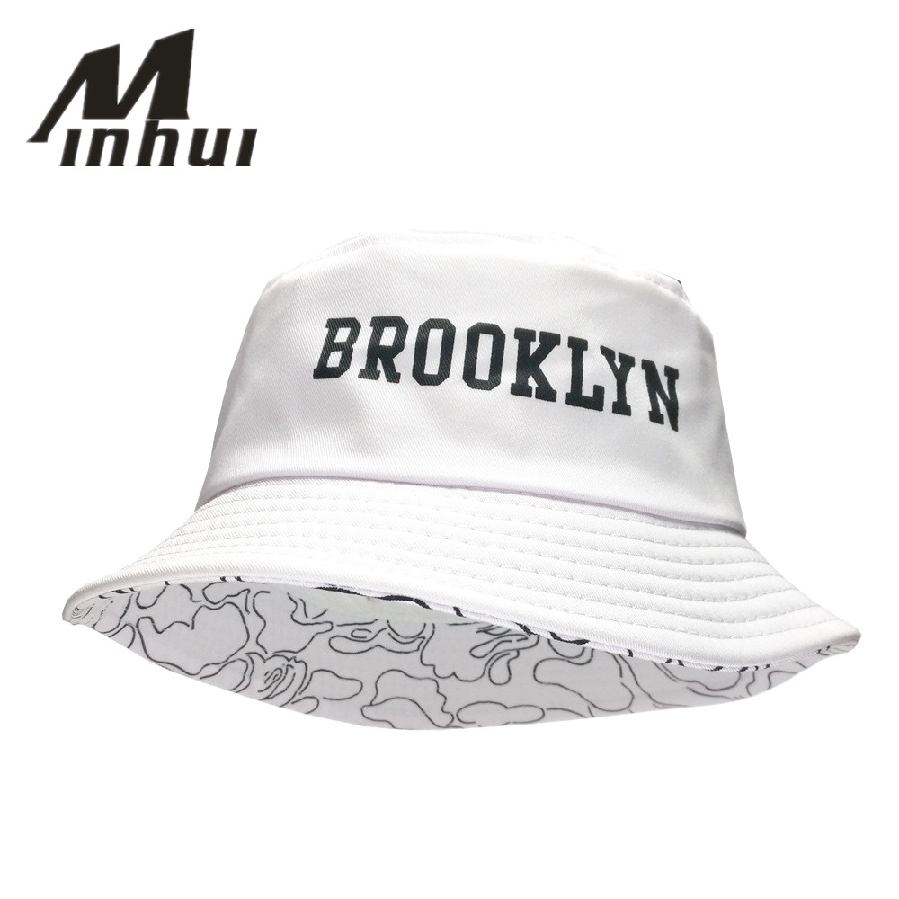 Minhui 2016 New Fashion BROOKLIN Bucket Hat Vit Panama Fishing Cap Män och Kvinnor Bob Fisherman Caps
