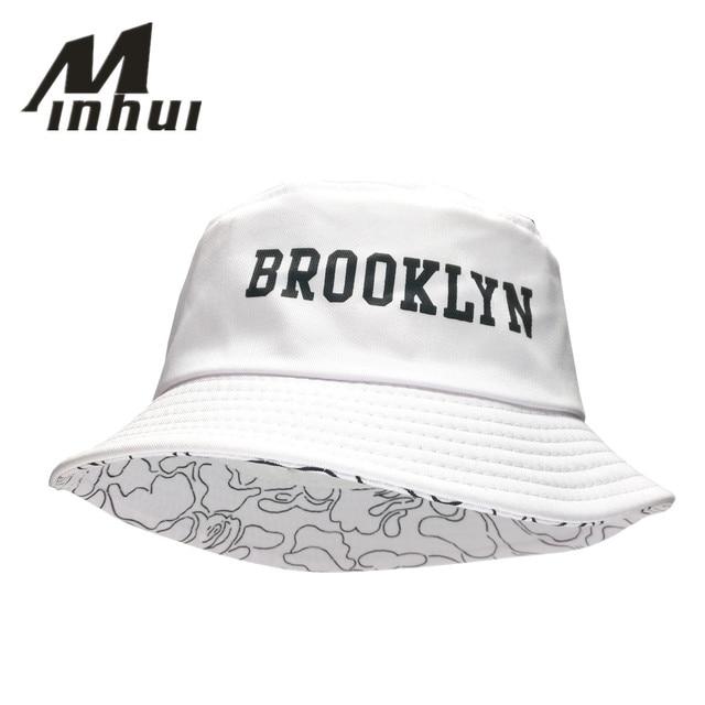 c4ebda58c0a Minhui 2016 New Fashion BROOKLIN Bucket Hat White Panama Fishing Cap Men  and Women Bob Fisherman Hats Caps