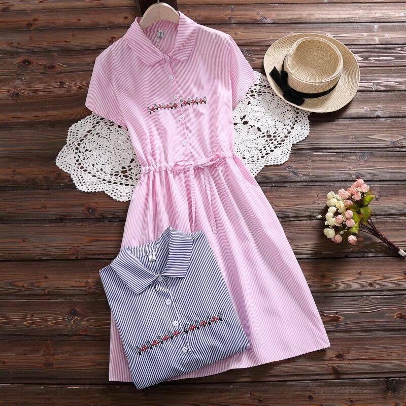 Mori Girl Сладкий Vestidos новые модные женские туфли вышивкой Хлопковое платье короткий рукав летние платья женские Костюмы розовый, синий