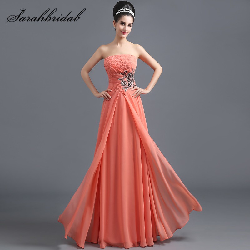 Simple Hot Sales   Prom     Dresses   Strapless robe Beaded Pleats Chiffon Sleeveless Back Lace Floor-Length Evening Party Gowns SD289