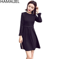 HAMALIEL New Fashion Autumn Women Dress 2018 Casual Black Long Sleeve O Neck Ladies Slim Empire