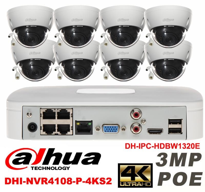 Dahua original 8CH 3MP H2.64 DH-IPC-HDBW1320E 8pcs Dome CCTV IP security camera POE DAHUA DHI-NVR4108-P-4KS2 network camera kit видеокамера ip dahua dh ipc hdbw2220rp zs 2 7 12мм 1 2 8 1984x1225