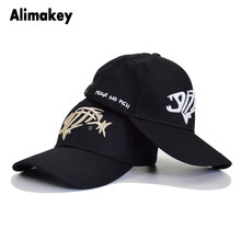7ea1dbd2c2c48 Classic Man Woman Fishing Baseball Cap Hunting Fish Bone Caps Outdoor  Curved Visor Hat Embroidery Logo Dad