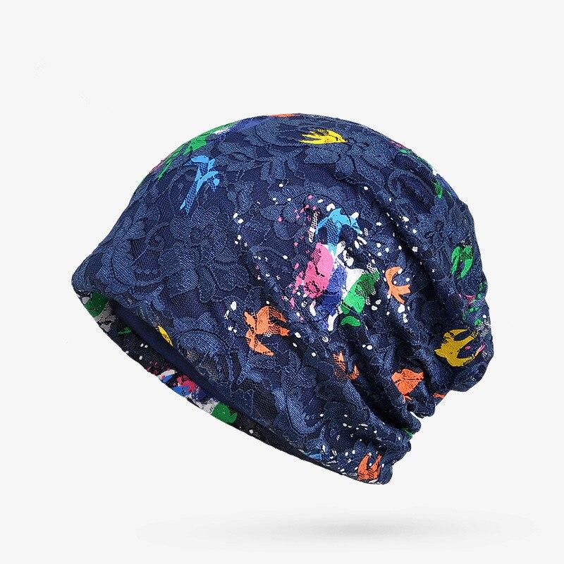 YYMM Women Skullies Beanie Hat Female Autumn Lace Hat Cap Famale Butterfly Hat Ladies Cotton Casual Flower Bonnet Femme skullies