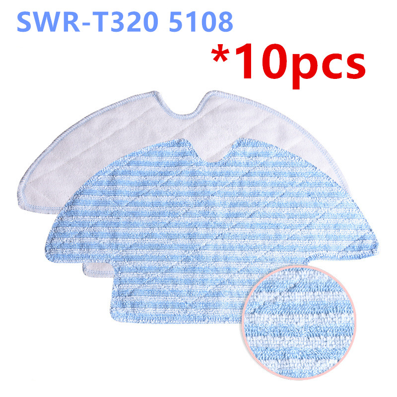 10pcs High Quality Cleaning Dishcloth  Reuseable Mop Cloth for SWR-T320 M5108 Robotic Vacuum Cleaner Parts window cleaning robot fiber cloth 12 pcs lot high quality for window vacuum cleaner hobot168 188 etc window cleaning mop cloth