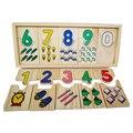 1 Компл. Детские Монтессори Раннего Обучения Деревянные Цифровой Соответствие Пластины Дети Математика Обучение Abacus Сенсорные Игрушки