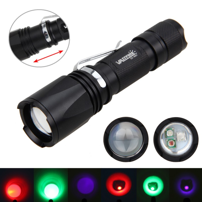Adjustable 3X XPE LED Green Red UV Light Zoomable Flashlight Torch Hunting Lamp