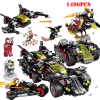 4 IN 1 Super Heroes Batman Movie The Ultimate Batmobile Bat Motorcycle Building Blocks Compatible Legoings Technic Bricks Toys