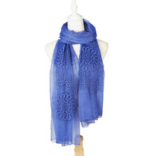 Real silk women dailyuse long scarf embroidery scarf