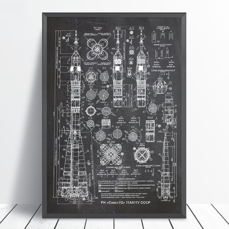 Soyuz-U2 Russian Rocket Patent Gallery Wall Art Canvas Print Aviation Artwork Blueprint Posters Painting Outer Space Retro Decor