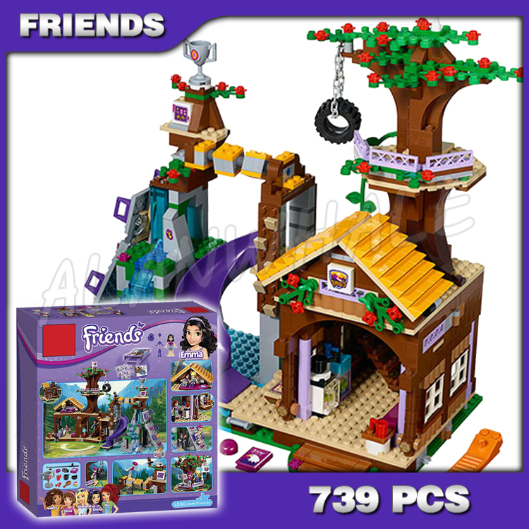 739pcs Friends Adventure Camp Jungle Forest Tree House <font><b>10497</b></font> Model Building Bricks Blocks Emma Toys girls Compatible with Lego image