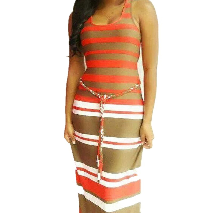 Buy Cheap 2016 Fashion Summer Dresses Sleeveless Striped Maxi Dress For Women With Belt