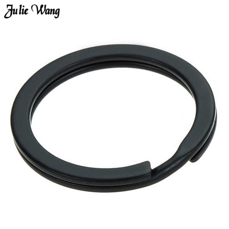 Julie Wang 20pcs/pack Black Key Ring Matte Iron Keyring Key Chain Round Split Keychain Jewelry Making Accessory 25/28/30/32mm