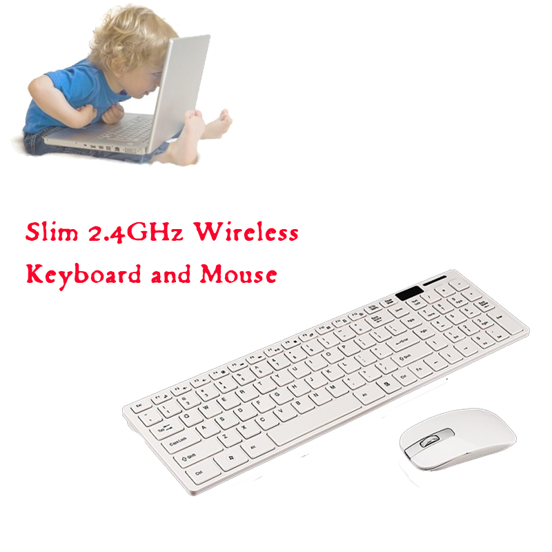 Slim 2.4GHz Wireless Keyboard and Mouse Combo 102 Keys Wireless Keyboard Mouse for Mac P ...