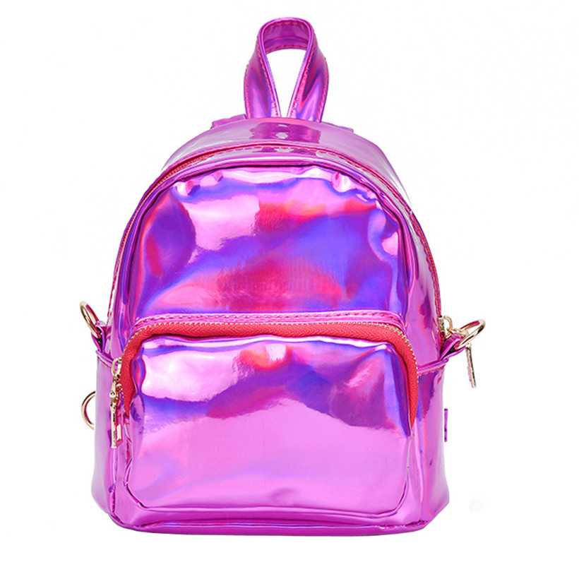79a507441b 2019 Backpack New Women Backpack Mini Travel Bags Silver Laser Backpack  Women Girls Bag PU Leather Holographic Backpack School