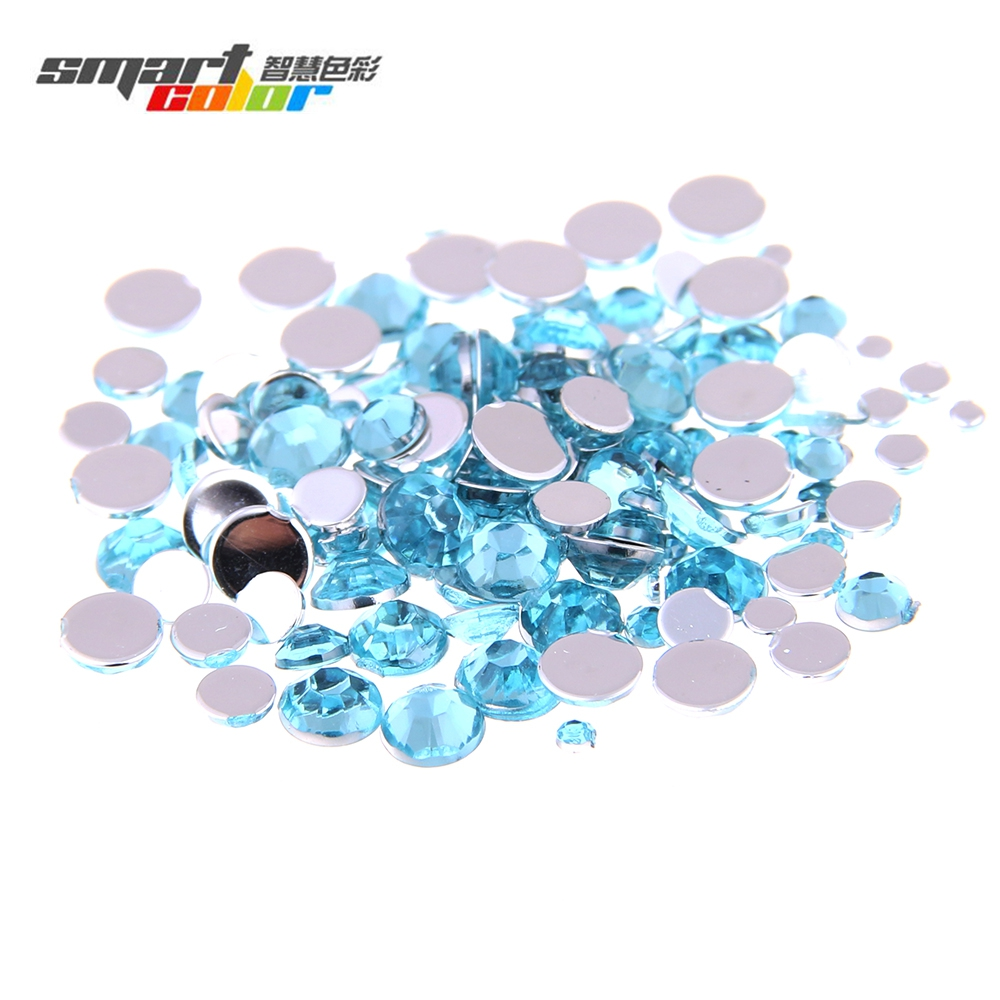 Multi-size Optional Light Aquamarine Color Acrylic Rhinestones Shoes Sparkling Nail Art  ...