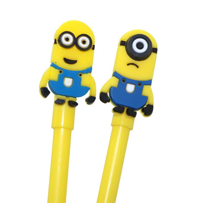 2 Pcs School & Office Supplies Cute Korean Stationery Small Yellow People Gel Pen Kawaii Creative Colored Pens School Items