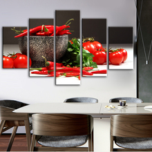 5 Panels Kitchen Theme Decorative Canvas Art Prints Tomato And Chili Realist Modular Pictures Cuadros Wall Decor Canvas Painting