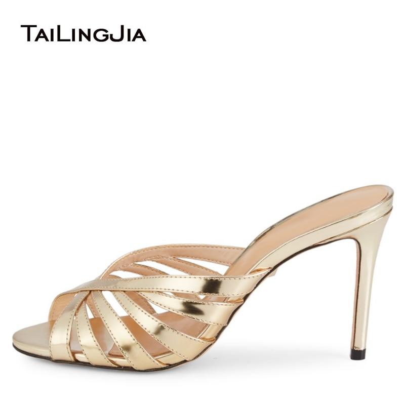 Mules à talons dorés femme talons en argent sandales à talons hauts femmes 2019 dames élégantes de mariée de mariage Peep Toe chaussures d'été chaussures