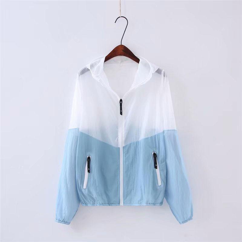 Women Summer Jacket Hit Color Hooded jacket Thin Transparent Bomber Jackets Sunproof Coat