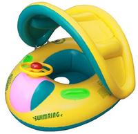 PVC Inflatable Baby Seat Float Quality Children's Summer Swimming Rings Sunshade Baby Floating Rings Water Boat