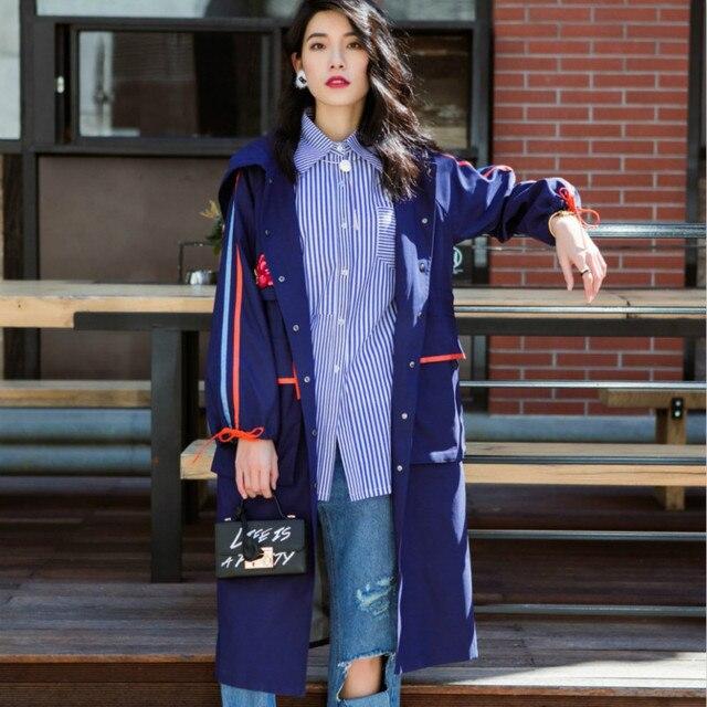 Новое поступление Для женщин Повседневное плащ с капюшоном женский длинный тонкий вышивка в стиле пэчворк в полоску пальто Femme шнурок ветровка