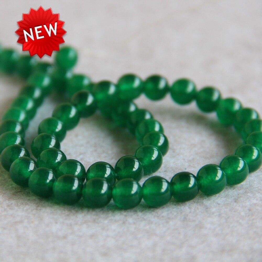 3b86cec3880b (Min order1) 8mm Moda de Nueva natural Calcedonia verde Cuentas ronda  malayo piedra DIY Cuentas 15 inch joyería haciendo diseño al por mayor