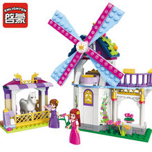 Enlighten Princess Leah Rainbow Windmill 2 Figures Assembled Educational Bricks Toys Girls Friends Building Blocks For Kids Gift(China)