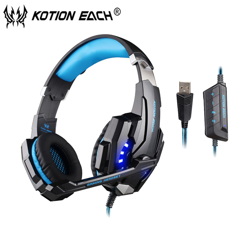 KOTION EACH G9000 USB 7.1 Surround Sound Gaming Headset gamer Headphone Earphone Headband with Microphone LED for Computer kotion each g9000 7 1 surround sound gaming headphone game stereo headset with mic led light headband for ps4 pc tablet phone