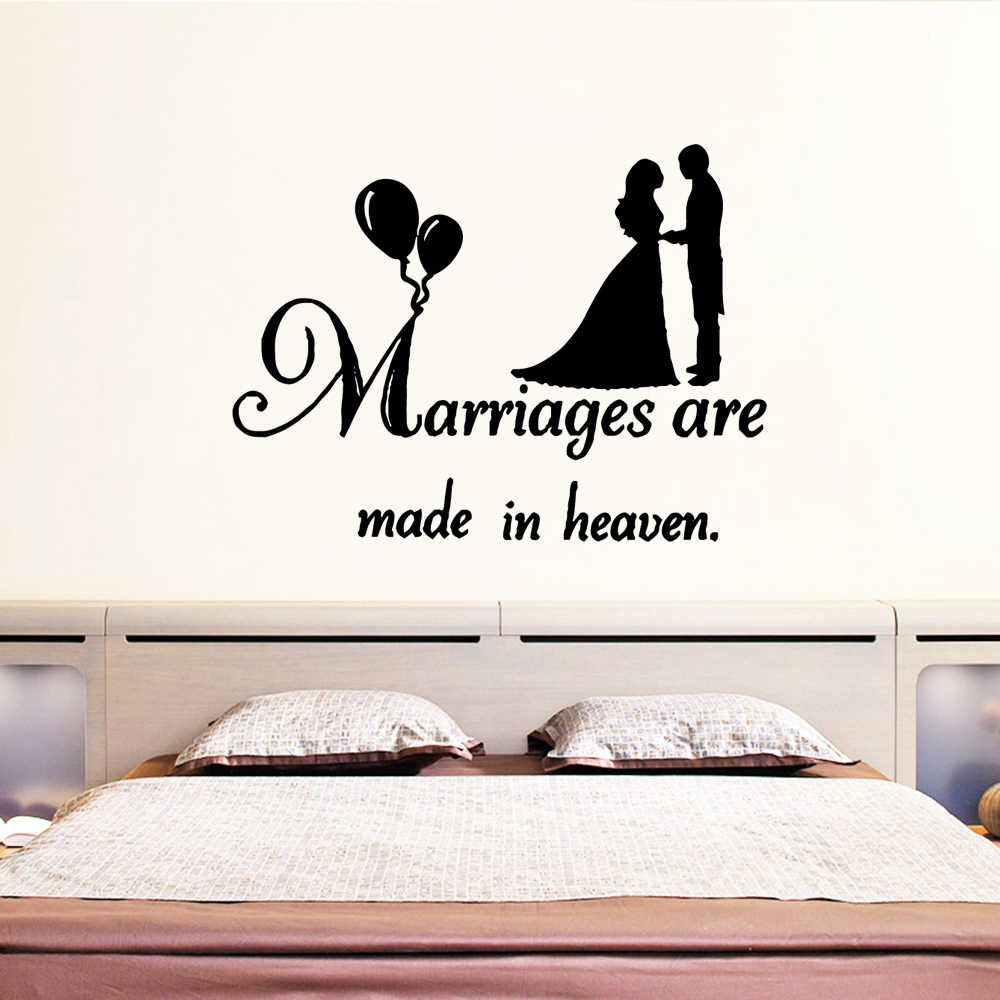 Hot Marriages Wall Sticker Home Decoration Accessories Decor Living Room Bedroom Removable Waterproof Wall Art Decal