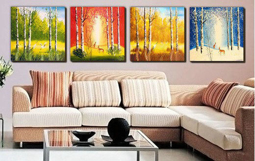 aeProduct.getSubject() & The Four Seasons Group Oil Painting Landscape Wall Art Handmade ...